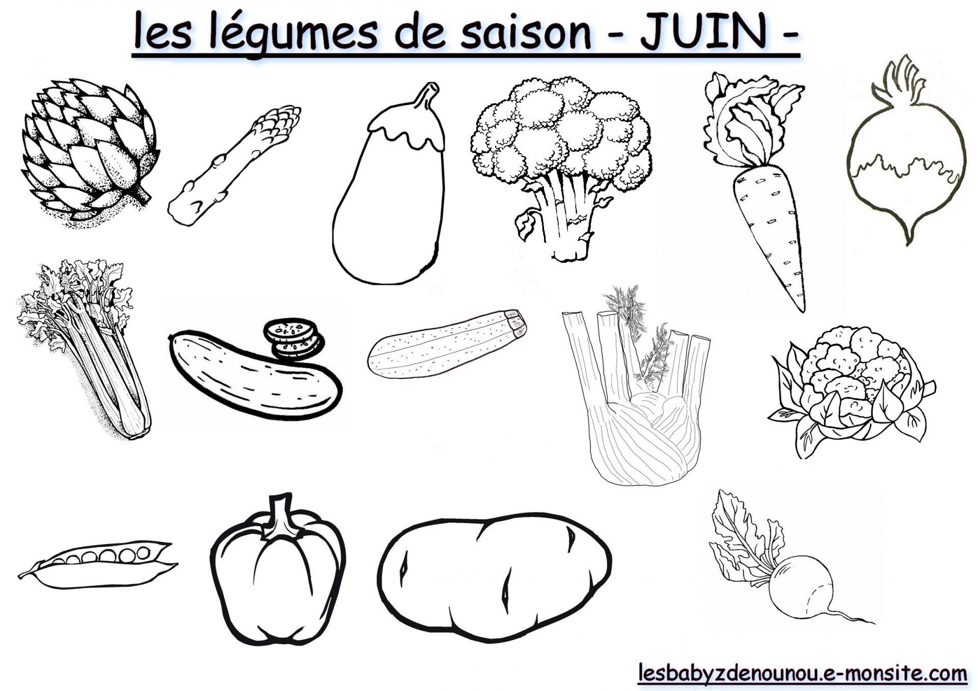 Coloriage les fruits et l gumes de saison mois de juin - Dessin de legumes ...
